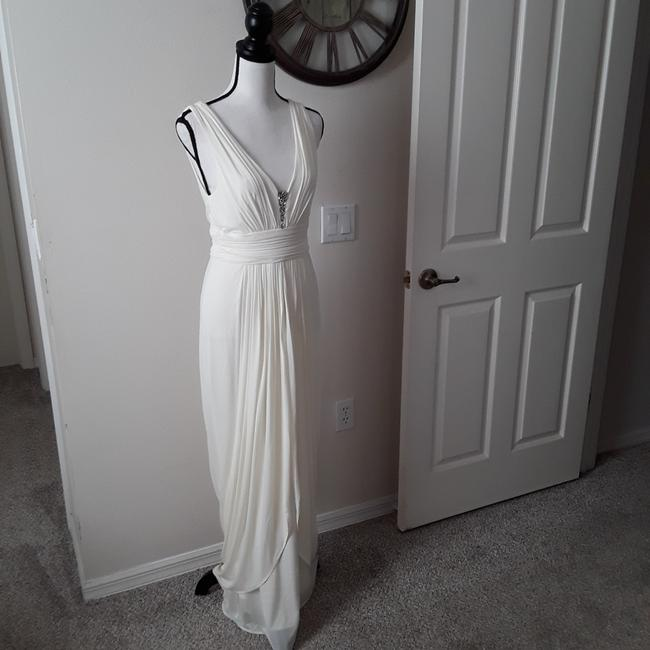 Item - Off White Jersey Long Cocktail Dress Size 4 (S)