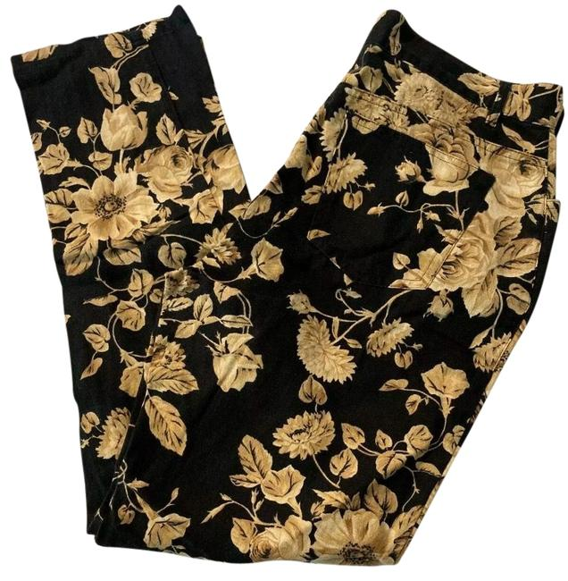 Item - Black and Gold Linen Pants Size 6 (S, 28)