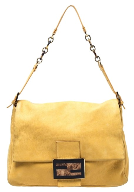 Item - Iridescent Mama Forever Large Flap Yellow Leather Shoulder Bag