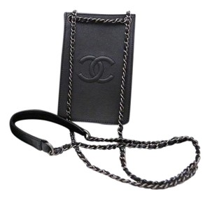 Chanel chanel cc logo chain pouch bag black cross body