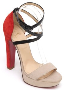 Christian Louboutin Summerissimia Red Sole Red Bottom Ankle Strap Beige Platforms