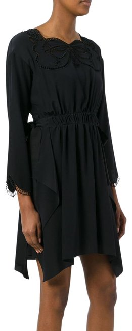Item - Black New Women Bow Silk Sinched Us 44 It Short Cocktail Dress Size 8 (M)
