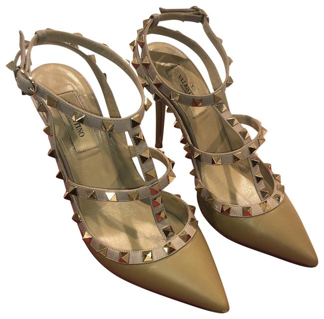 Valentino Taupe Rockstud Caged 100 Leather Ankle Strap Pumps Size EU 37 (Approx. US 7) Regular (M, B) Valentino Taupe Rockstud Caged 100 Leather Ankle Strap Pumps Size EU 37 (Approx. US 7) Regular (M, B) Image 1