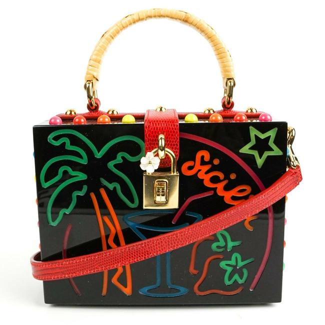 Dolce&Gabbana Box Sicily Plexi Palm Tree Lock with Flower Black Leather Tote Dolce&Gabbana Box Sicily Plexi Palm Tree Lock with Flower Black Leather Tote Image 1