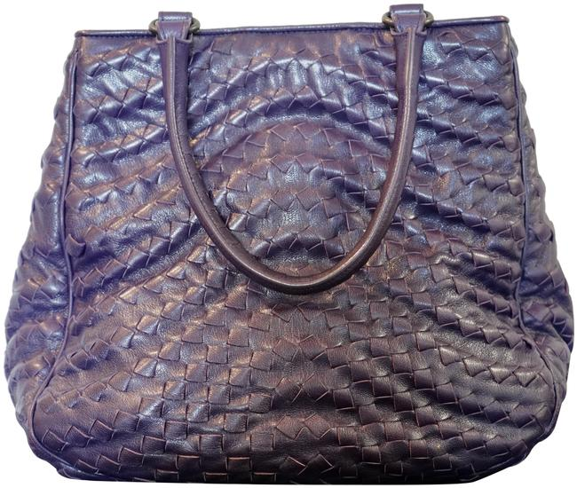Bottega Veneta Intrecciato Purple Leather Tote Bottega Veneta Intrecciato Purple Leather Tote Image 1