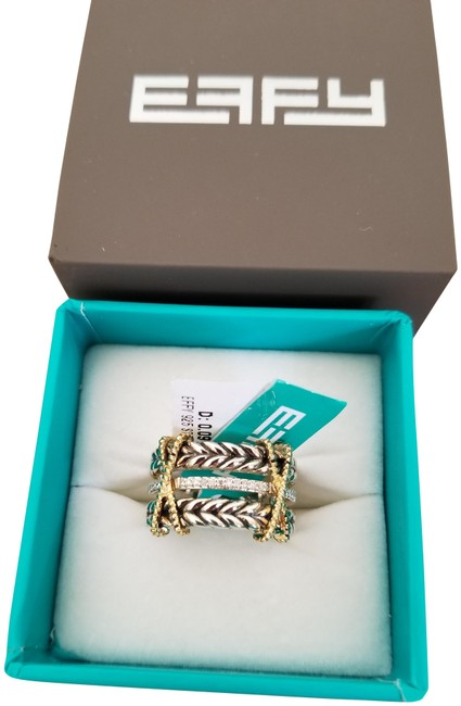 EFFY Silver and Gold Sterling Diamond Criss-cross Ring EFFY Silver and Gold Sterling Diamond Criss-cross Ring Image 1