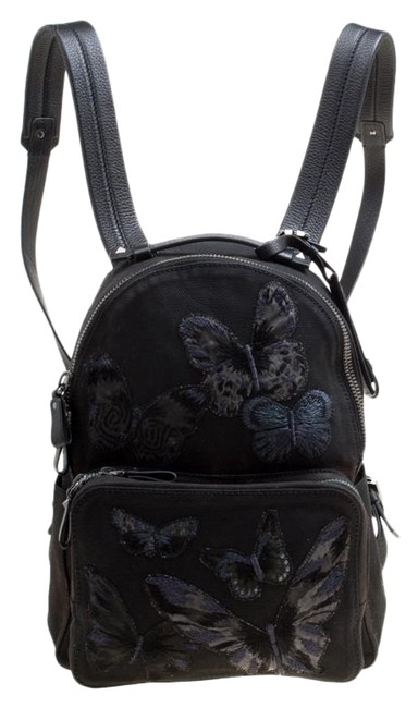 Valentino Embroidered Butterfly Black Canvas and Leather Backpack Valentino Embroidered Butterfly Black Canvas and Leather Backpack Image 1
