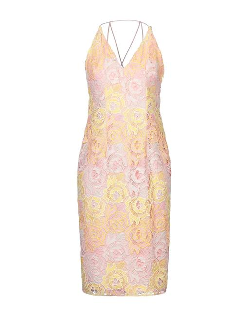 Item - Pink Lace Mid-length Cocktail Dress Size 4 (S)