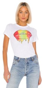 Chaser Graphic Crew Neck Sleeve Lips Cotton T Shirt White Red