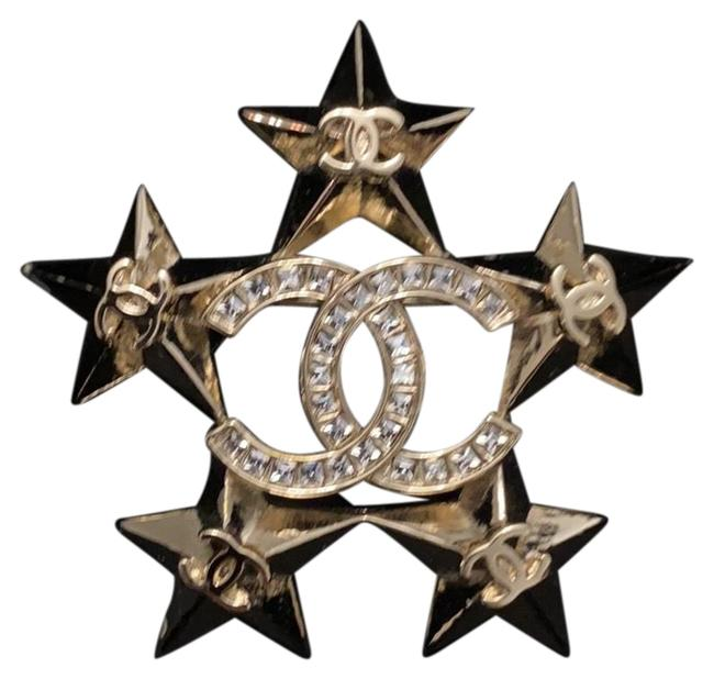 Item - Gold Cc Crystal 5 Star Brooch Pin