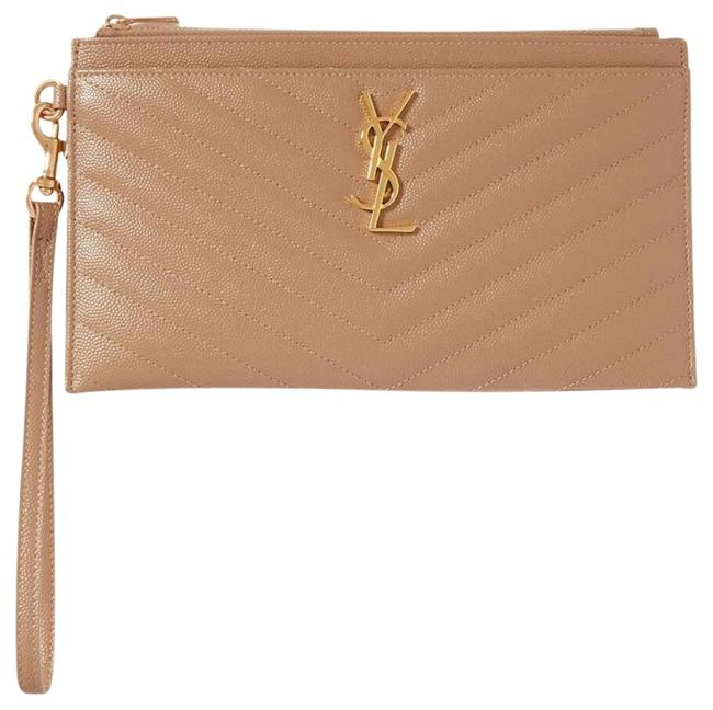 Item - Clutch New Ysl Quilted Tan Gold Leather Wristlet