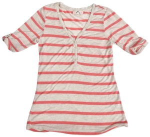 Pink Republic T Shirt Pink and Tan Striped