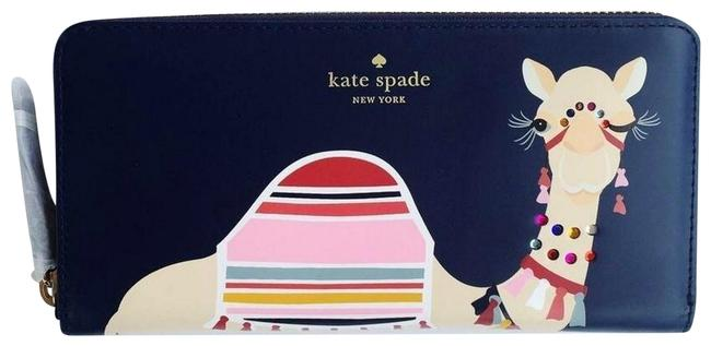 Kate Spade Spice Things Up Camel Neda Continental Zip Wallet Navy Blue Multi Leather Cross Body Bag Kate Spade Spice Things Up Camel Neda Continental Zip Wallet Navy Blue Multi Leather Cross Body Bag Image 1