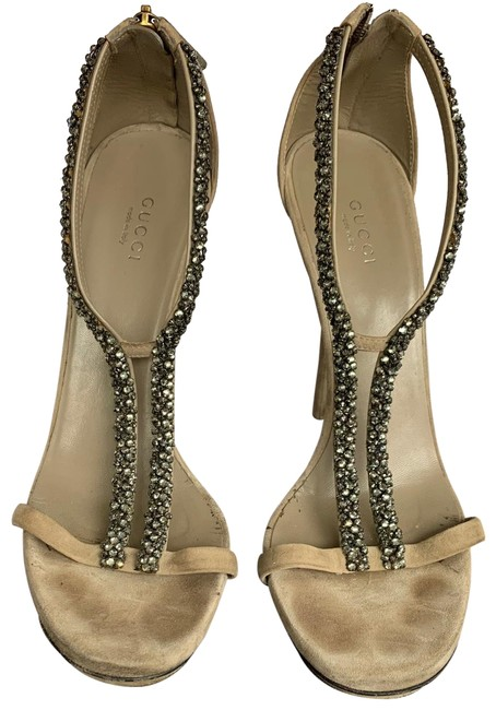 Item - Taupe with Black Diamond Crystals Kid Scamosciato Formal Shoes Size EU 39 (Approx. US 9) Regular (M, B)