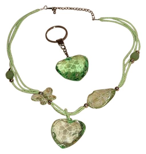 Other 2 PC GREEN JEWEL GEM HEART KEYCHAIN KEYRING and NECKLACE