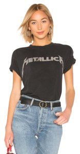 Daydreamer Graphic Studded Distressed Band Metallica T Shirt Gray White