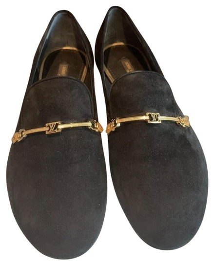 Preload https://img-static.tradesy.com/item/27099945/louis-vuitton-black-suede-loafers-with-gold-logo-hardware-detail-flats-size-us-75-regular-m-b-0-1-540-540.jpg