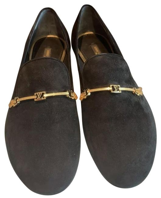Louis Vuitton Black Suede Loafers with Gold Logo Hardware Detail Flats Size US 7.5 Regular (M, B) Louis Vuitton Black Suede Loafers with Gold Logo Hardware Detail Flats Size US 7.5 Regular (M, B) Image 1