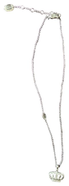 Item - Silver Crystal Classic Crown Encrusted Charm Necklace