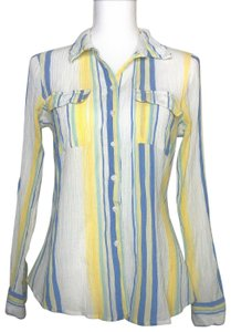 Olive + Oak Button Up Shirt Cotton Hand Wash Button Down Shirt White Blue Yellow