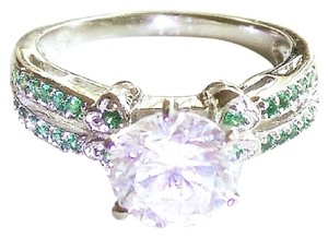 2CT Emerald & White Topaz 925 Sterling Silver Solitaire Ring Sz 8