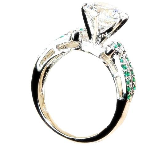 Other 2CT Emerald & White Topaz 925 Sterling Silver Solitaire Ring Sz 8