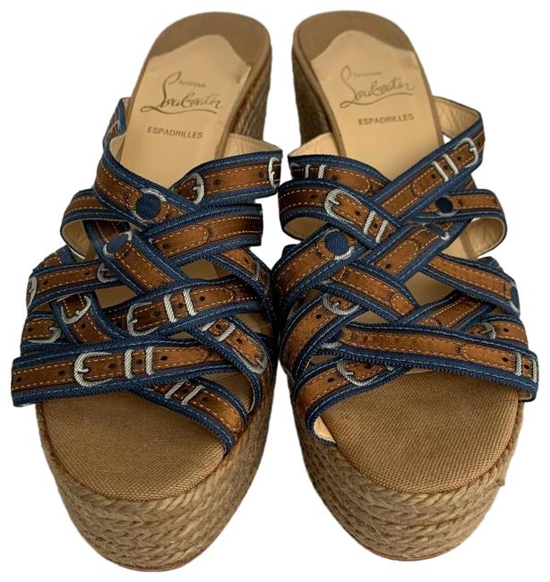 Item - Brown and Blue Printed Buckles Strappy Espadrille Platform Wedge Sandals Size EU 39 (Approx. US 9) Regular (M, B)