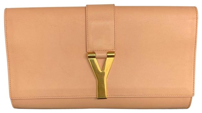 Item - Peach Leather with Gold Y Hardware Clutch