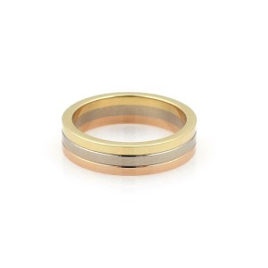 Cartier Classic 18k Tricolor Gold 3.5mm 3 Stack Band Ring Size 48-US 4.5 Cert