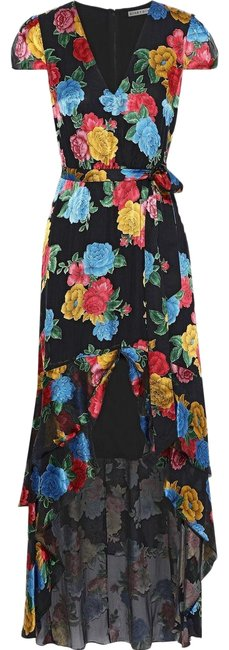 Item - Multi Color Camellia Asymmetric Floral-print Fil Coupé Chiffon Long Night Out Dress Size 4 (S)