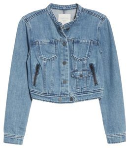 Habitual Cropped Distressed Snap Button Western Denim Womens Jean Jacket