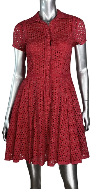Item - Red Embroidered Fit & Flare Eyelet Short Casual Dress Size 4 (S)