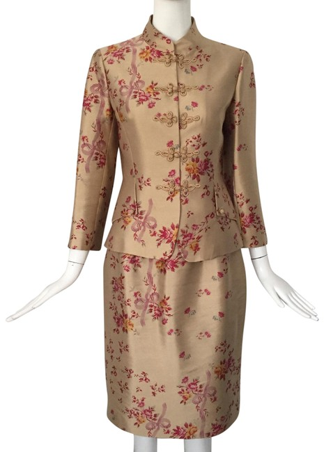 Item - Tan/ Red Silk Wool Floral Print Set Skirt Suit Size 4 (S)