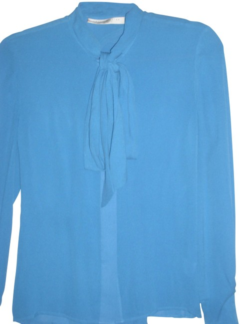 Item - Blue Silk Bright Cornflower Gathered Draped Fitted Bow Tie Blouse Button-down Top Size 2 (XS)