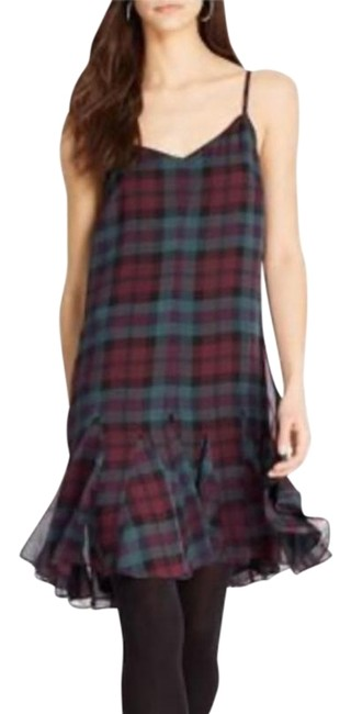 Item - Burgundy and Green Silk Plaid Short Casual Dress Size 2 (XS)