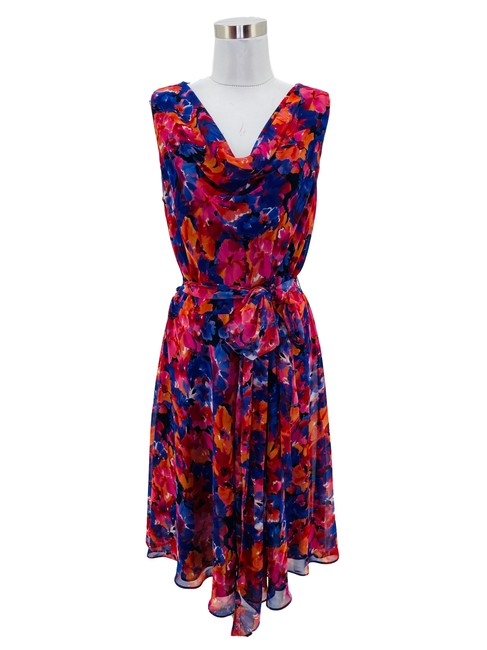 Item - Purple Pink N1042 Small Floral Cowl Short Cocktail Dress Size 4 (S)