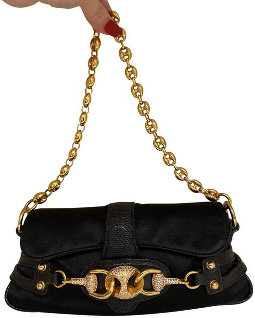 Gucci Clutch Black Satin and Grand Leather Baguette Gucci Clutch Black Satin and Grand Leather Baguette Image 1