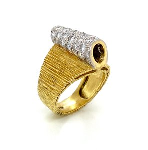 Henry Dunay Designs Diamond 18k 2 Tone Gold Fancy Textured Wide Band Ring