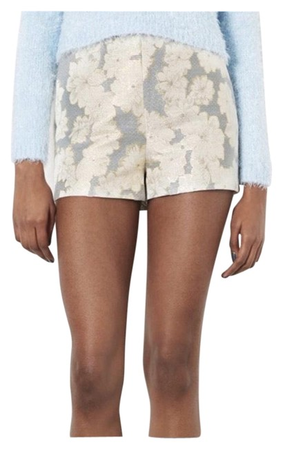 Item - Gray Gold Cream Floral Tailored High Waisted Shorts Size 4 (S, 27)
