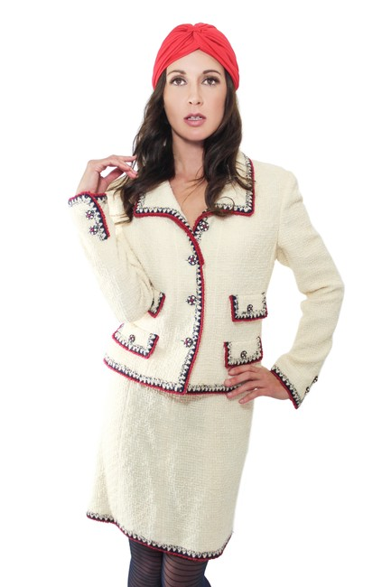 Item - Ivory Red & Navy W 06a Very Rare Tweed Wool Jacket W/ Aztec Trim Skirt Suit Size 10 (M)