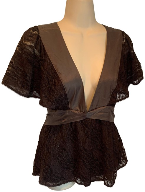 Item - Lace Deep V Blouse Brown Top