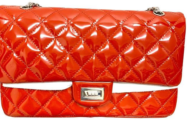 Item - Shopping Double Flap Classic Silver Hardware Red Patent Leather Shoulder Bag