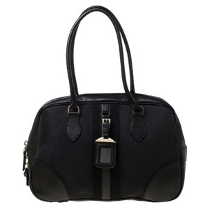 Prada Canvas Leather Satchel in Black