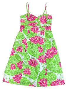 Lilly Pulitzer short dress Lime green, Hot pink, and White on Tradesy