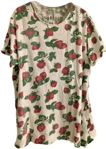 MAGNOLIA PEARL T Shirt Beige and Red Strawberry Print