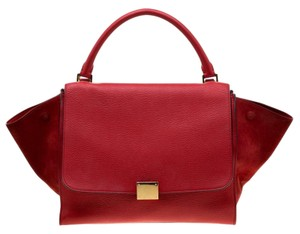 Céline Leather Suede Red Clutch