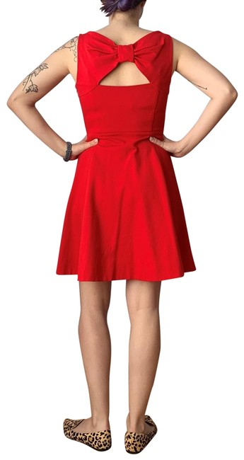 Item - Red Ponte Bow Back Short Work/Office Dress Size 2 (XS)