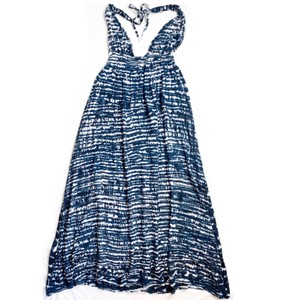 navy blue white Maxi Dress by Tiare Hawaii