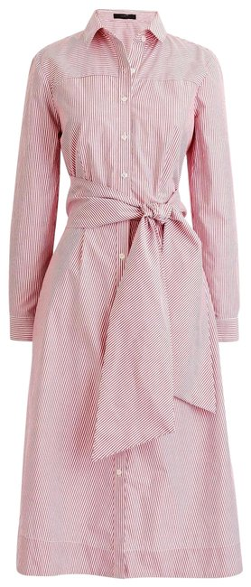 Item - Red Tie-waist Shirtdress In Stripe H7791 Mid-length Work/Office Dress Size 10 (M)