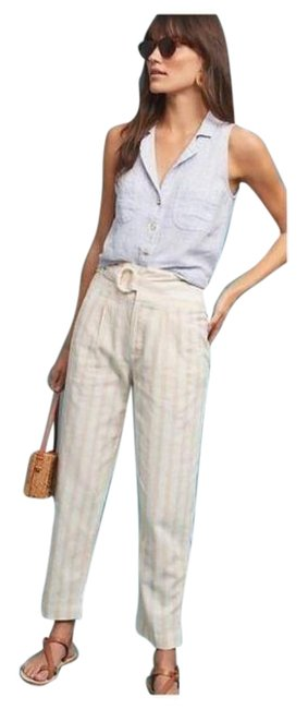 Item - White Oasis Striped Belted Pants Size 2 (XS, 26)